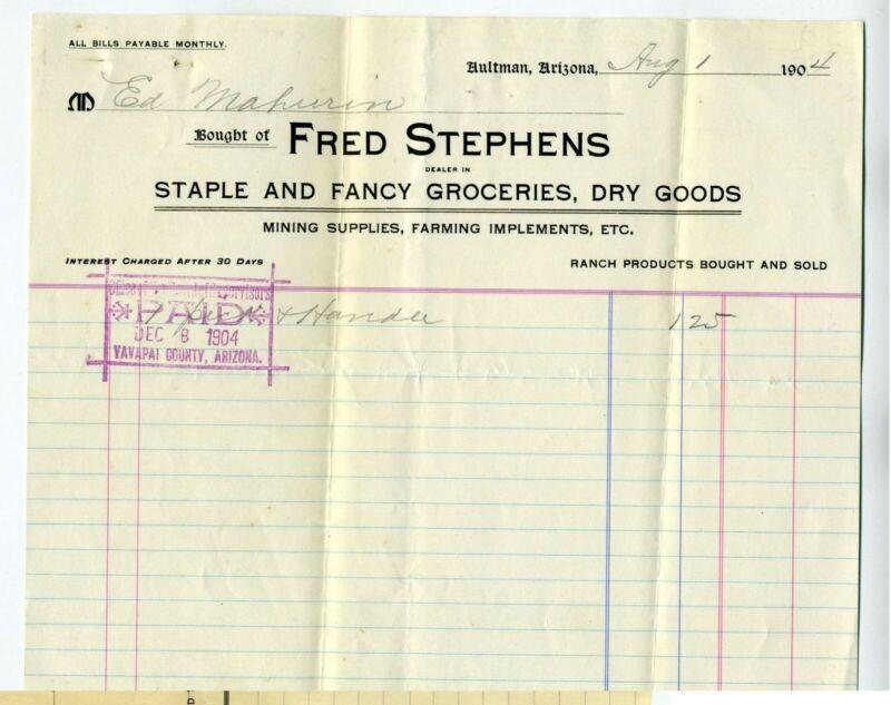 ARIZONA TERRITORY – AULTMAN  BILLHEAD 1904