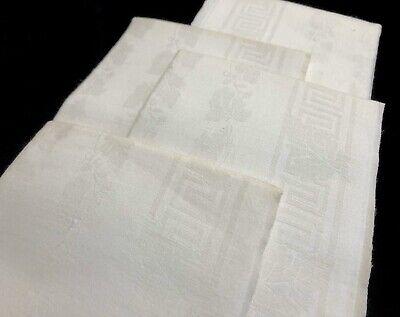 5 Vintage Oak Leaf Damask Linen Huck Hand Bath Guest Towels 20x35
