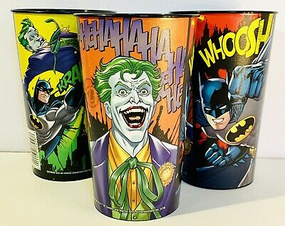 JOKER & BATMAN 22 oz. Plastic Drinking, Party Favor, Tumbler/Cups, Set/3-NEW