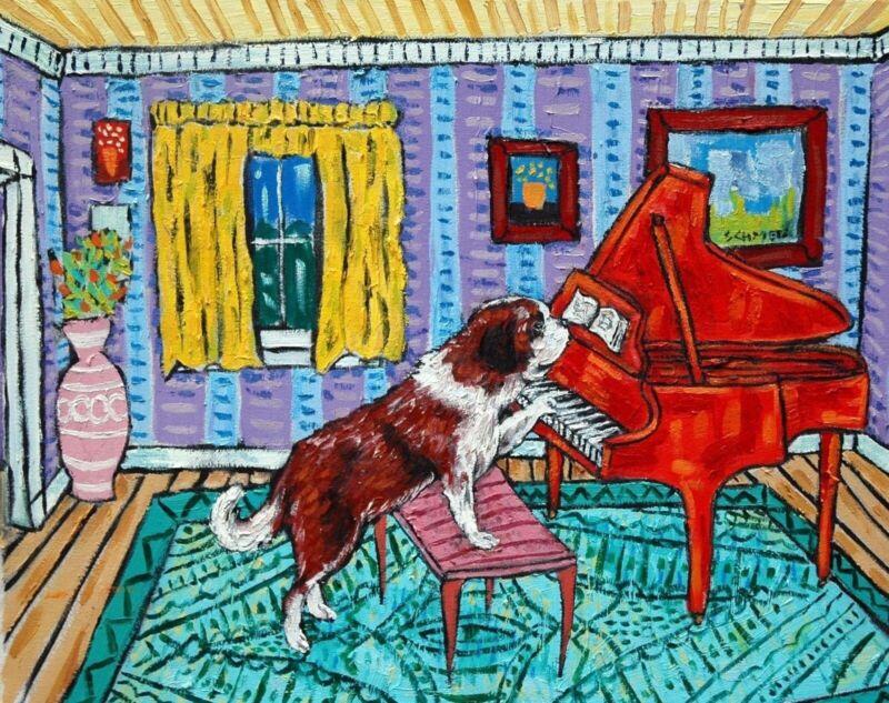 saint bernard piano  art print animals impressionism artist dog new 11x14