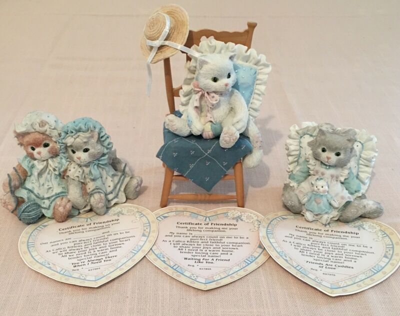"(Set of 3) ""Calico Kittens"" by Priscilla Hillman with Certificates - Year 1992"