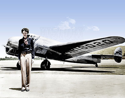 Amelia Earhart Pilot Atlantic world lost missing airplane aircraft color ()