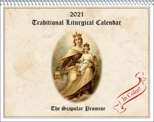 2021 Traditional Catholic Calendar: Scapular Promise; fasts, feasts COLOR