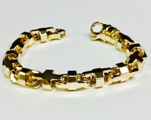 """14k Solid Yellow Gold Anchor Mariner Chain Bracelet 8.5 Mm 54 Grams  8"""""""