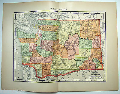 Rare Original 1895 Map of Washington by Rand McNally