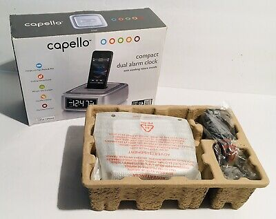 Capello Dual Alarm Clock FM Radio IPod & Iphone Docking Station W/ Nature Sounds