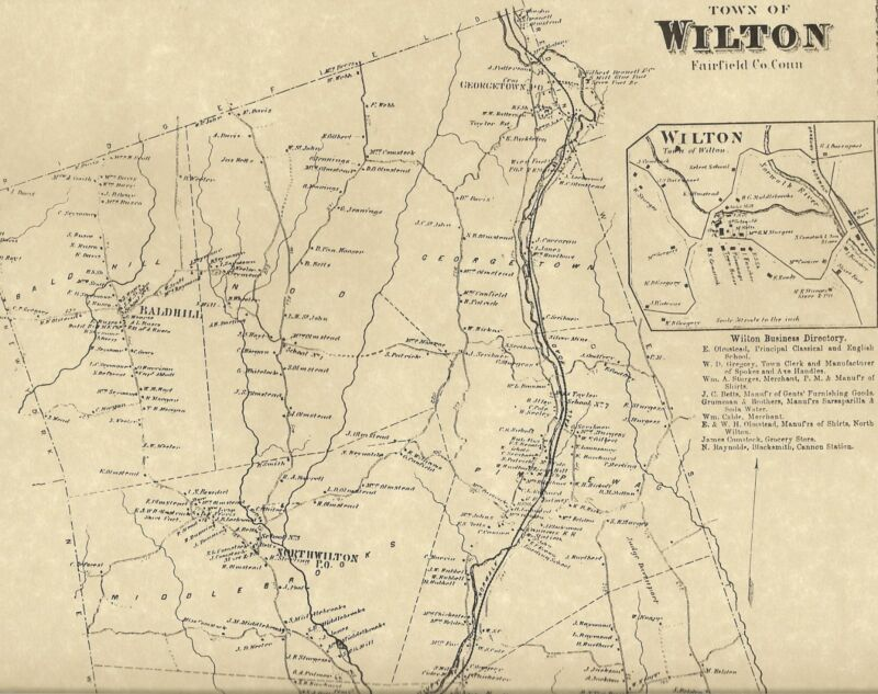 Wilton Cannondale Georgetown Gilbert Corners CT 1867 Maps Homeowners Names Shown