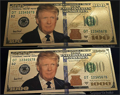 President Donald Trump Gold $100 & $1000 American Dollar Gold Banknotes Bill