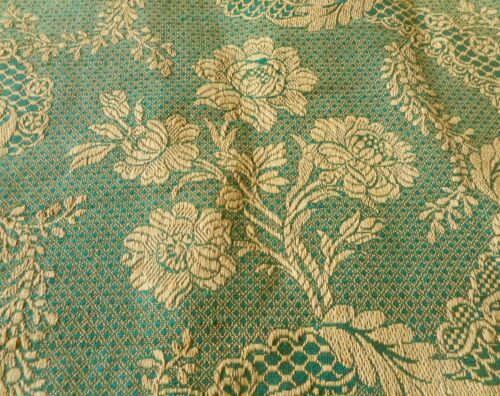 Antique French Floral Garland Linen Cotton Jacquard Fabric ~ Green Ochre Gold