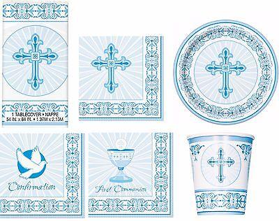 Communion Tableware (Blue Christening Communion Confirmation Tableware Napkins Plates Cups)