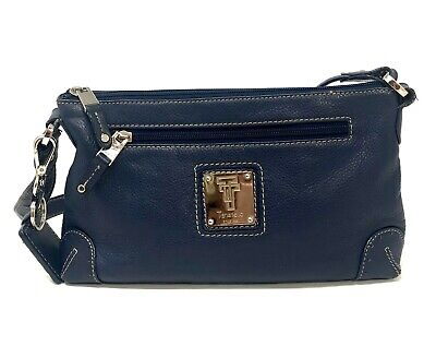 Tignanello Navy Blue Leather Handbag Shoulder Purse Silver Hardware