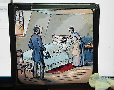 Victorian Glass Magic Lantern slide Man ill in bed.  bx1 .
