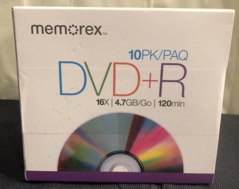 New in Box Memorex DVD-R 16x 4.7GB 120min 10 Pack in Slim Case Blank Disc