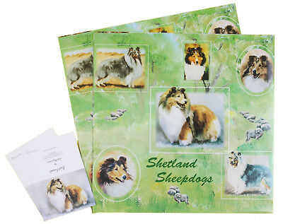 Shetland Sheepdog Sheltie Dog All Occasions Wrapping Gift Paper 2 Sheets 2 Tags