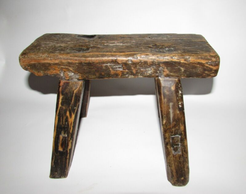 Small Wood Milk Stool Mortised 11 x 4 x 8 inches