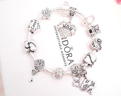 Authentic Pandora Silver Bangle Charm Bracelet with White Love European charms