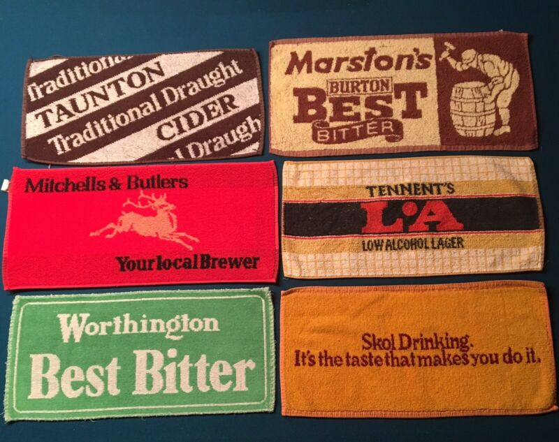 6 Vintage Beer Bar Towels ~ Worthington Skol Marstons Tennents Taunton Mitchells