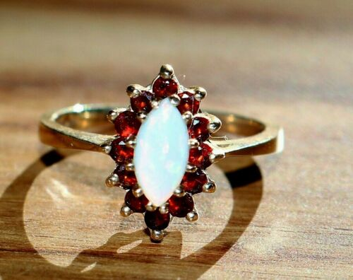 Vintage 14k Yellow Gold Marquise Cabochon Cut Opal & Garnet Halo Ring, Size 6.5