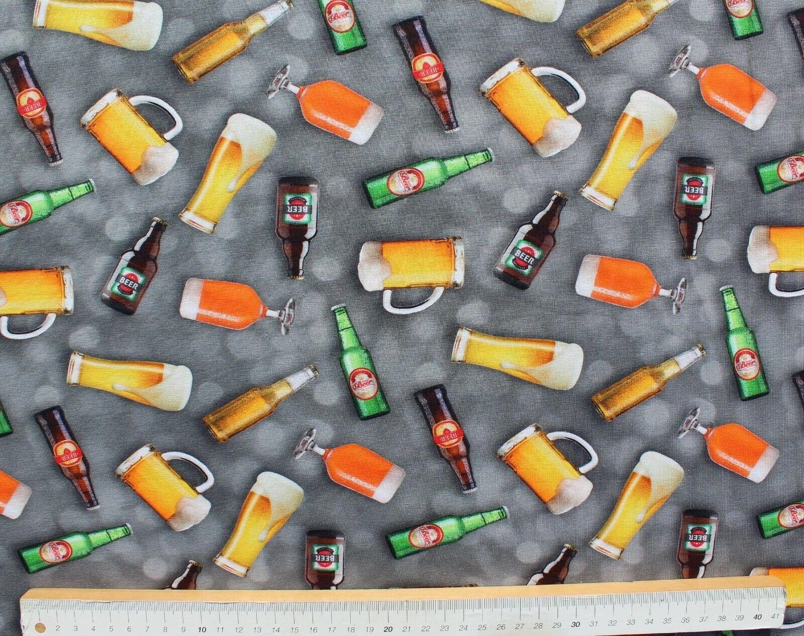 Baumwolle Jersey Stoff, Digitaldruck, Quality Textiles, Bier, Grau, 150 cm