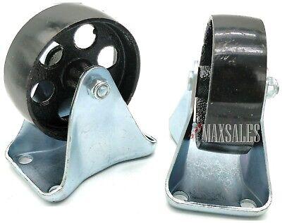 Qty-2 Caster 3.5 Wheels Steel Rigid Non Swivel Plate Metal Heavy Duty