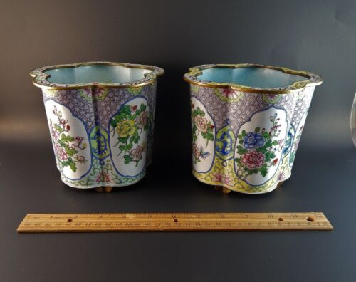 Pair Chinese Canton Peking Enamel Shaped Lobed Planter Cache Pots 19th 20th C