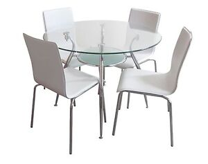 Bentax 5pc WHITE Round Glass Dining Table Setting Punchbowl Canterbury Area Preview