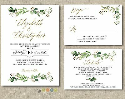 100 Personalized Greenery Wedding Invitations Suite Modern Rustic with Envelopes](Personalize Invitations)