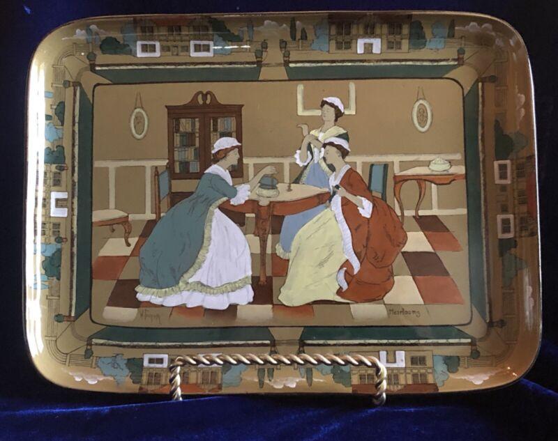 "Antique 1908 HTF Buffalo Pottery Deldare Ware Heirloom 13"" Tray Signed Foster"