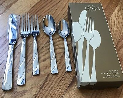 - Lenox VIBE 1 -  5 Piece Place Settings 18/10 Stainless Flatware NEW