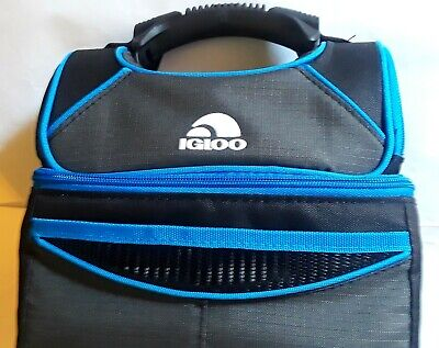 Igloo Playmate Gripper Lunch Bag Cooler, 9 Can Capacity, Black/Blue