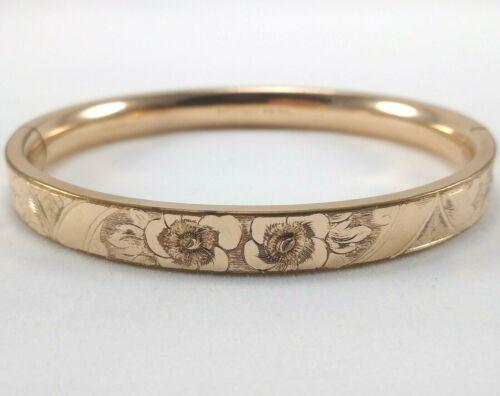 Bates & Bacon Edwardian Gold Filled Etched Floral Hinged Bangle Bracelet, 7 Inch