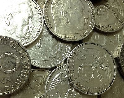 SILVER Nazi Second World War 2 Coin by Collection Lot Ww2 Hitler era Old Evil