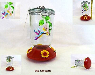 "Mason Jar Style Glass Hummingbird Feeder 4 Port Stained Glass Effect 26oz 7.5""H"