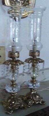 Pair of Vintage Crystal and Etched Glass Hurricane Table Lamps