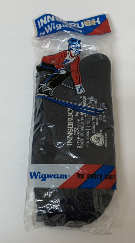 Vintage Wigwam Innsbruck Super Wash Wool Blend Ski Socks Black 11-13 NEW NOS