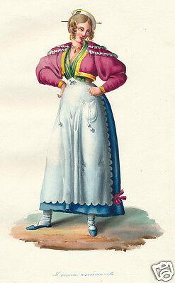 1840 Italy Rome Lazio Donna eminente woman costume watercolor engraving