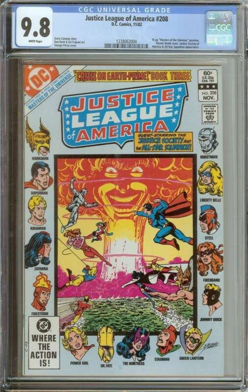 JUSTICE LEAGUE OF AMERICA #208 CGC 9.8 WHITE PAGES