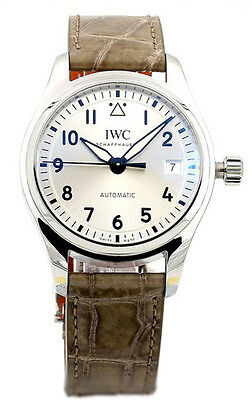 IWC Pilots Midsize Silver Dial Gray Leather Automatic Watch IW324007 IW324005
