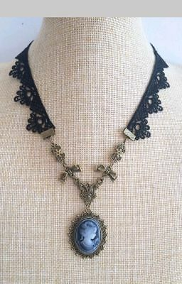 Halloween Costume Idea Sexy Black lace  Cameo Gothic Witch Necklace Choker