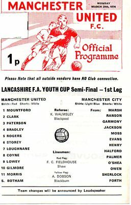 MANCHESTER UNITED YOUTH v MANCHESTER CITY 29/03/76 LANCS FA YOUTH CUP PROGRAMME