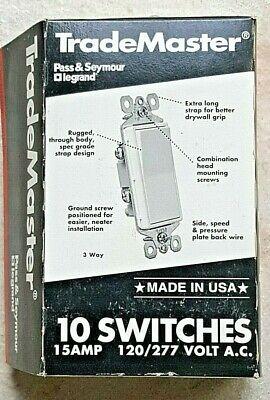 Box Of 10 Pass Seymour Legrand Tm873-la Decorator Switch 3-way 15a 120v Almond