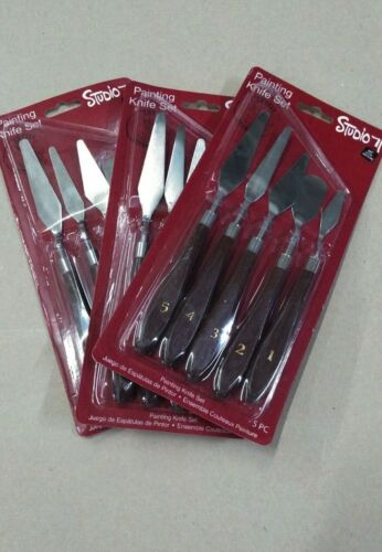 3 Sets - Studio  71 ,5-Piece Pallet Painting Knife Set Stainless Steel NEW