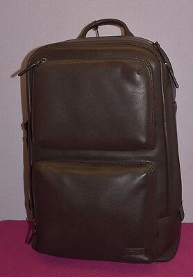 """TUMI Archer Backpack Harrison Collection Leather 063012B Laptop 15"""" ID Lock New"""