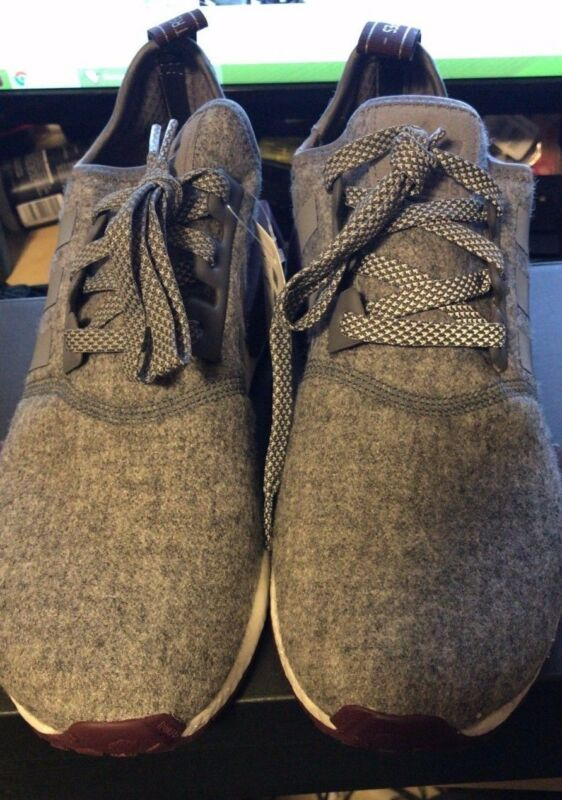 f55358741d67d ... Adidas NMD R1 Grey Wool Maroon White CQ0761 Exclusive Boost Runner  Men s Size ...