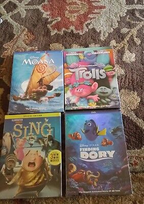 Moana  Trolls  Sing  Finding Dory   4 Movies Collection   Fast Shipping