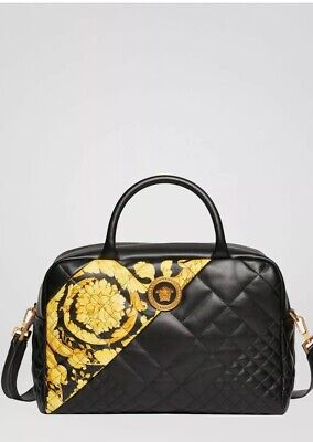 VERSACE Gold Hibiscus Quilted Satchel Bag NWT