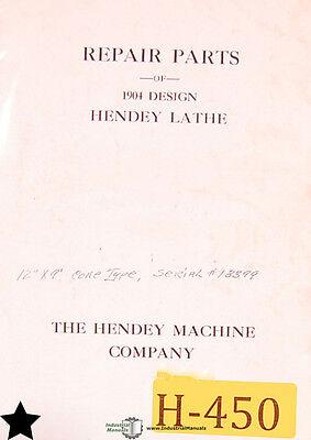 Hendey Lathe 1904 Design Repair Parts Manual