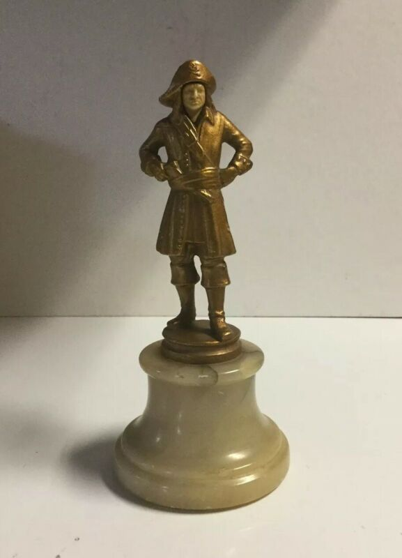 Antique Pirate Bronze Celluloid Statue Ivory Face, Marble Base Art Deco