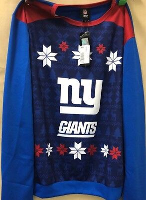 NFL Team Apparel Authentic LG Mens' Ugly Christmas Sweater NY Giants Long Sleeve](Mens Ugly Xmas Sweaters)