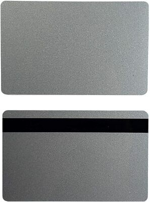 Silver Pvc 3 Track Hico Mag Cards Cr80 .30 Mil Magnetic Stripe - Pack Of 50